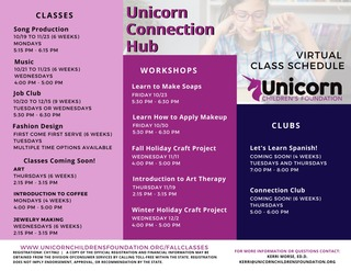 Unicorn Connection Hub - Fall Virtual Class Schedule