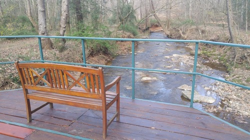 Bridge bench releasing stream