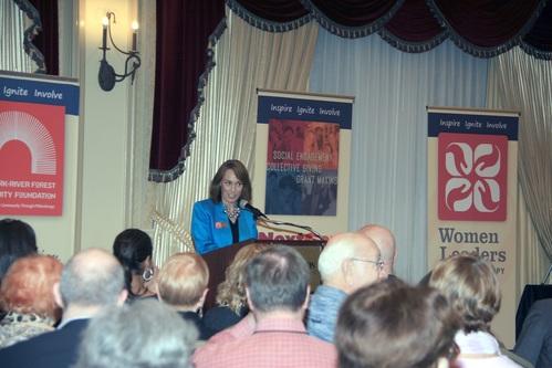 Clare at podium