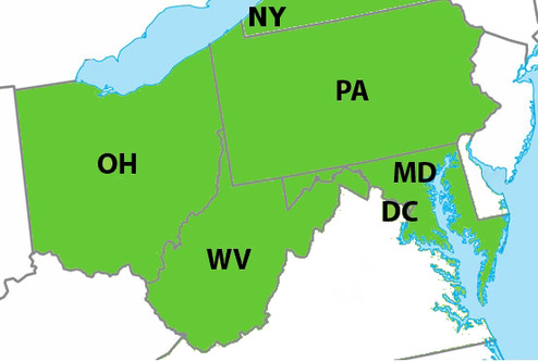 Oh pa wv md ny map 8