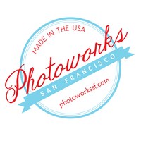 Photoworks sticker red and blue
