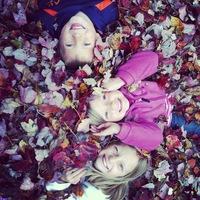 Kids in leaves