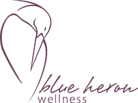 Icon blue heron logo purple