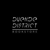 Duende bookstore white logo black background by christopher j. greggs.jpg silentauction