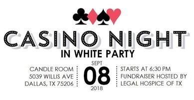 Casino night in white logo
