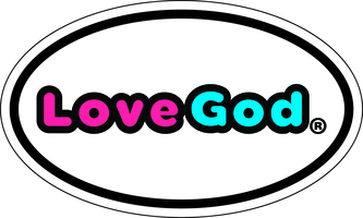 Lovegod oval bumper sticker good