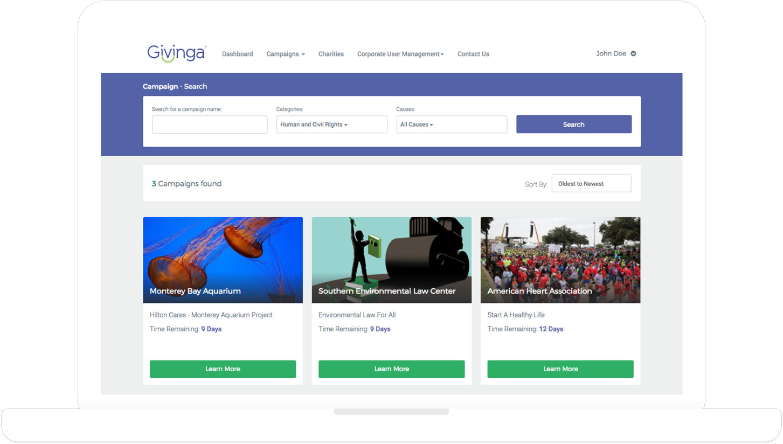 Givinga Campaign Search