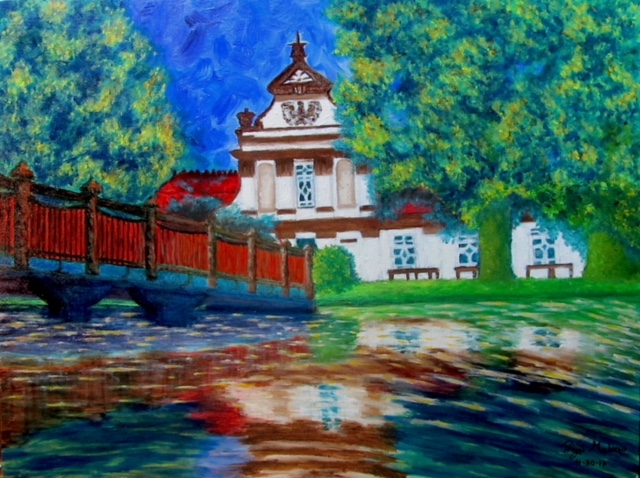 """""""Kindred"""" - oil painting on canvas of a house located in Zamość, Poland, the hometown of Priya Melonio's Grandfather. Winner, first place in a Congressional Art Competition. Currently on display at the Capitol Building in Washington, D.C., through July."""