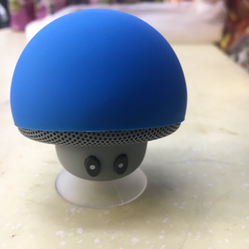 Mini Wireless Bluetooth Mushroom Speaker with Mic Water-resistant Heavy Bass Stereo Music - Blue