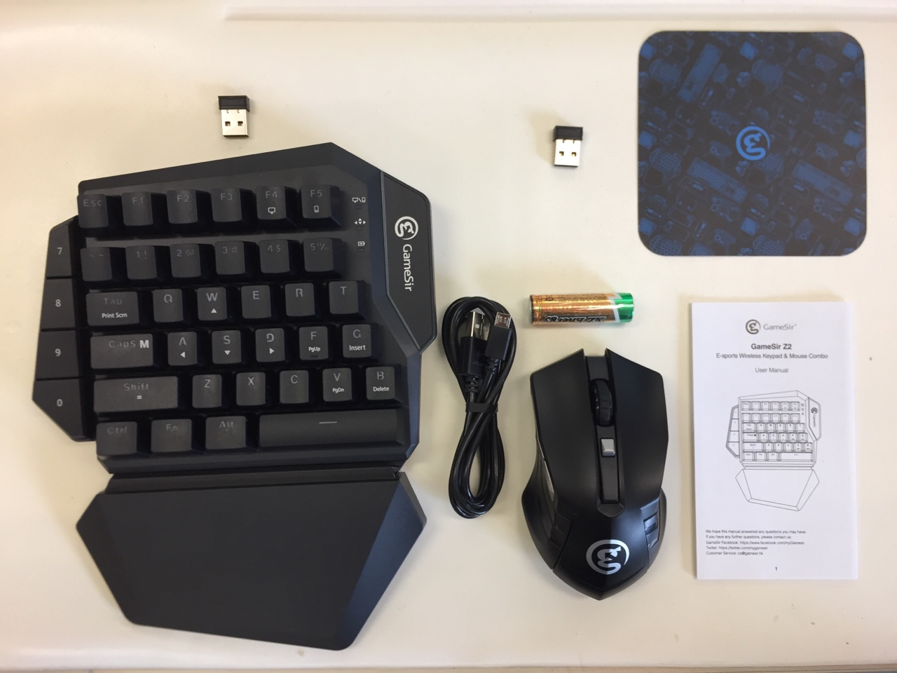GameSir Z2 E-sports Gaming Wireless Keypad Mouse Combo 2 4GHz One-handed  Blue Switch Keyboard For FPS Games - Black