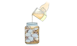drawing of water being poured into jar containing rocks, pebbles, and sand