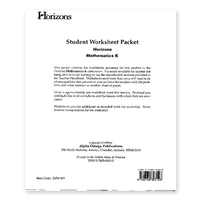Horizons Kindergarten Math Student Worksheet Packet
