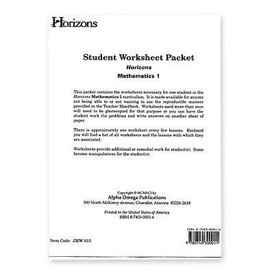 Horizons 1st Grade Math Student Worksheet Packet