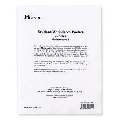 Horizons 3rd Grade Math Student Worksheet Packet
