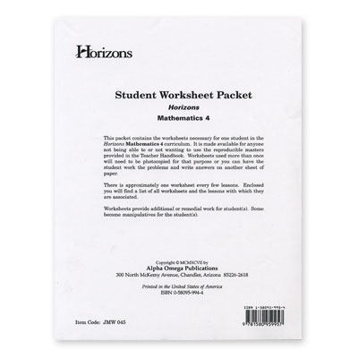 Horizons 4th Grade Math Student Worksheet Packet