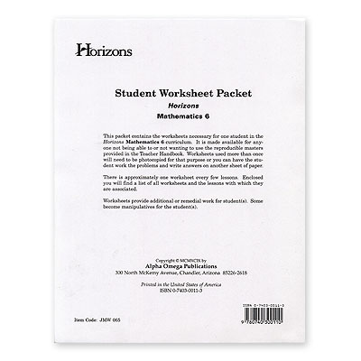 AOP Homeschooling - Horizons 6th Grade Math Student Worksheet Packet
