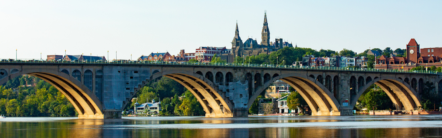Key Bridge with Georgetown's campus in the background