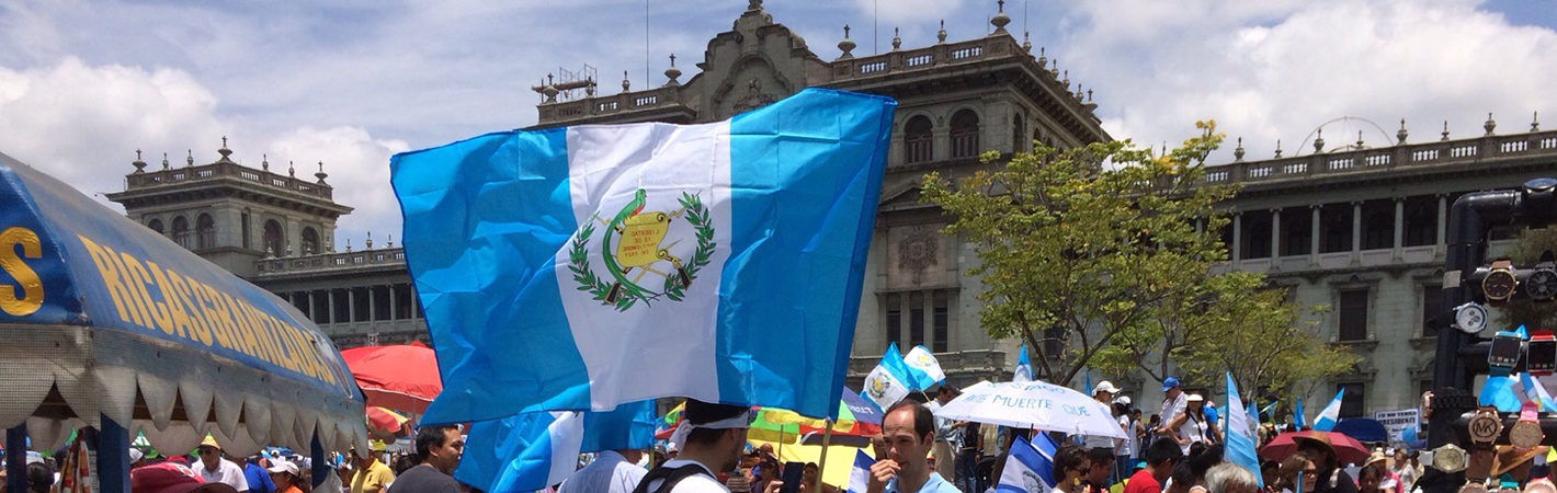 Crowd of protesters in Guatemala