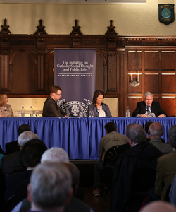 "The panelists of a ""A Path Forward: Conversation and Dialogue on Clerical Sexual Abuse"" in Copley Formal Lounge."