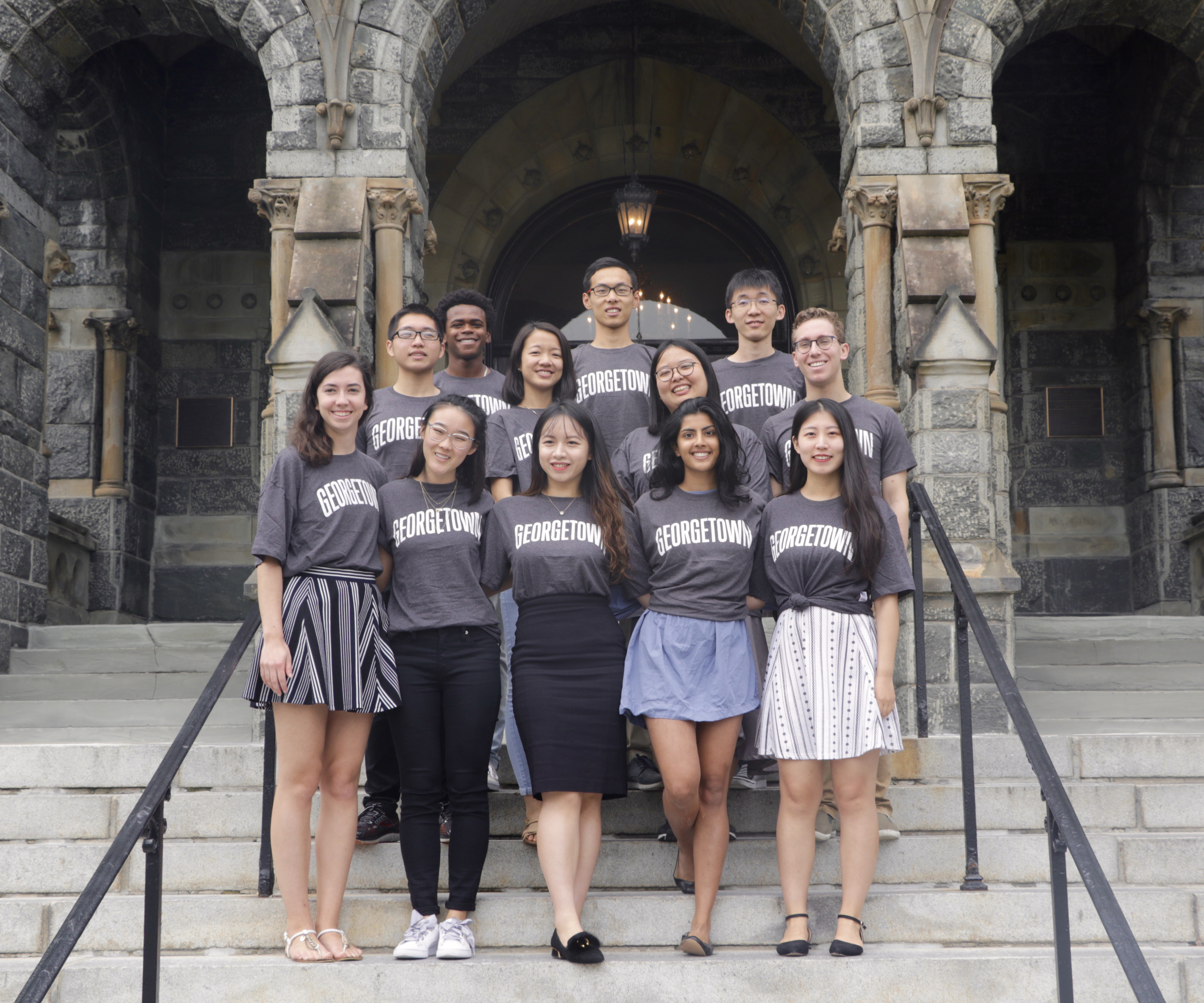 2018-2019 Student Fellows in front of Healy Hall