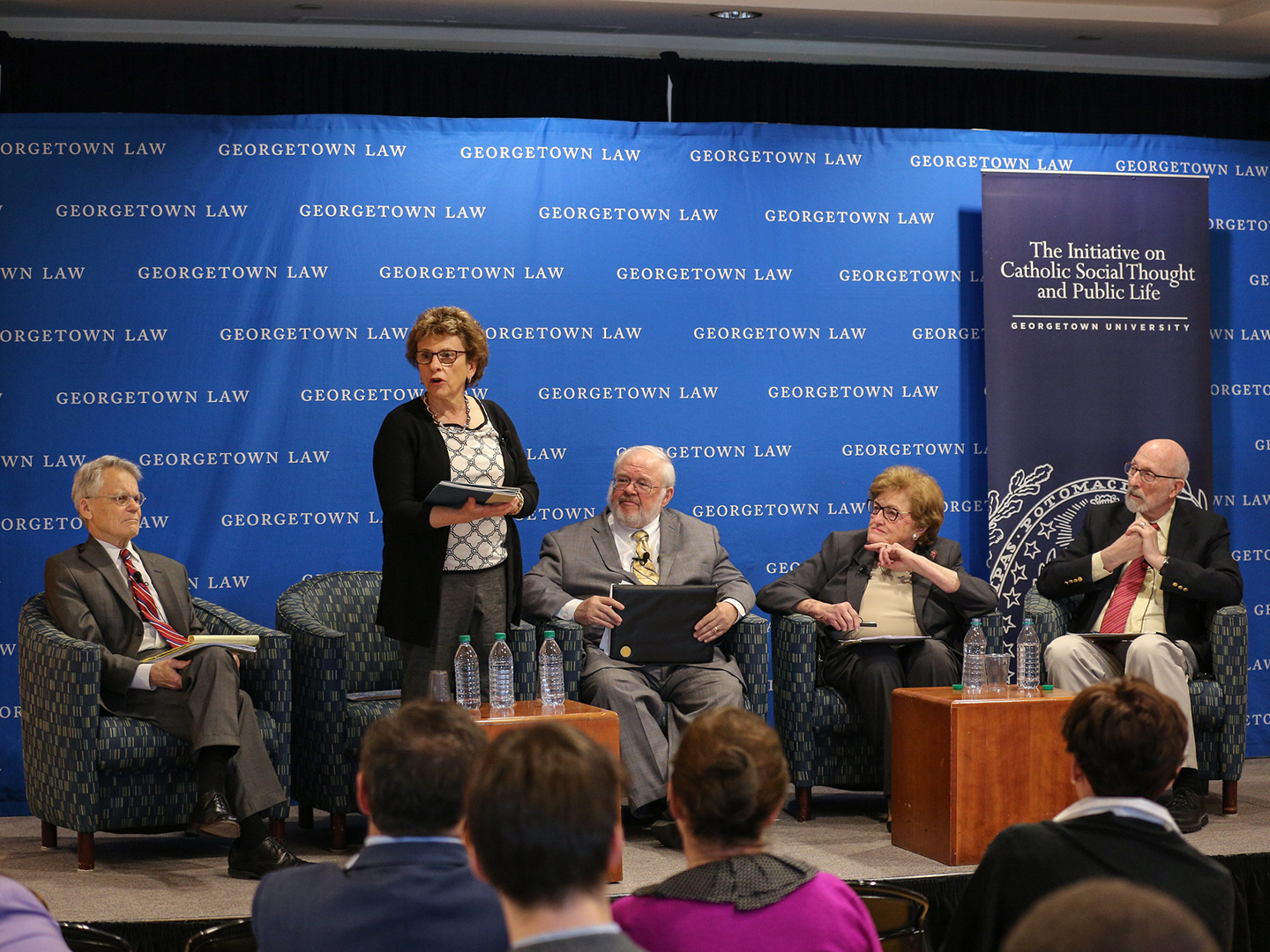 Barbara Thorp and other panelists at April 9, 2019 Public Dialogue at Georgetown Law
