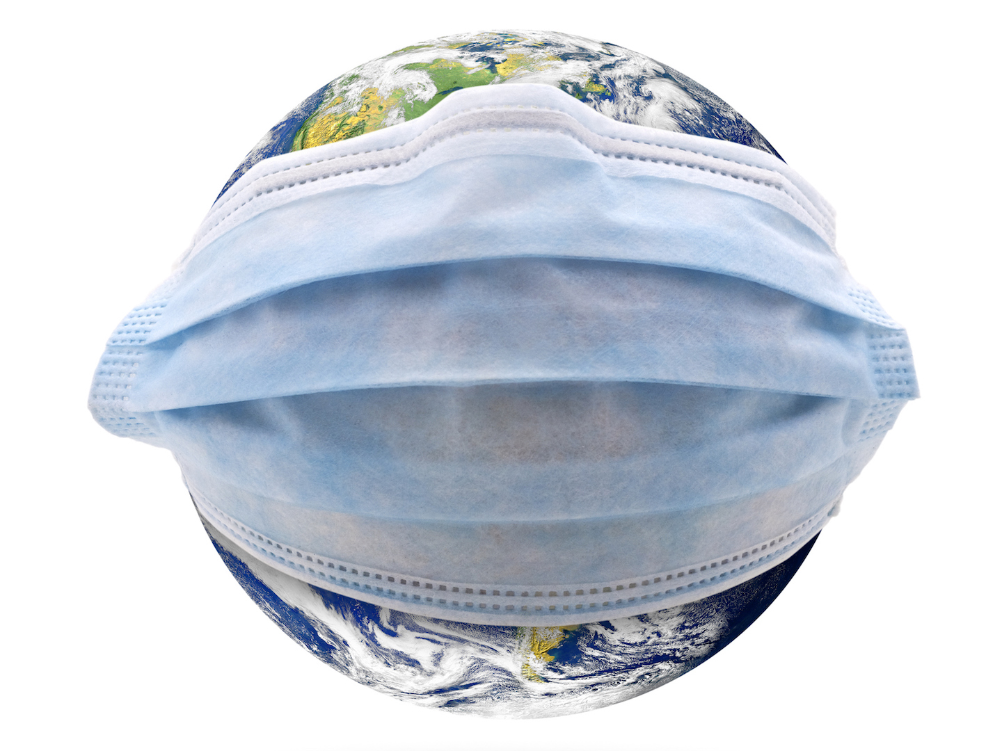 Globe with surgical mask around it