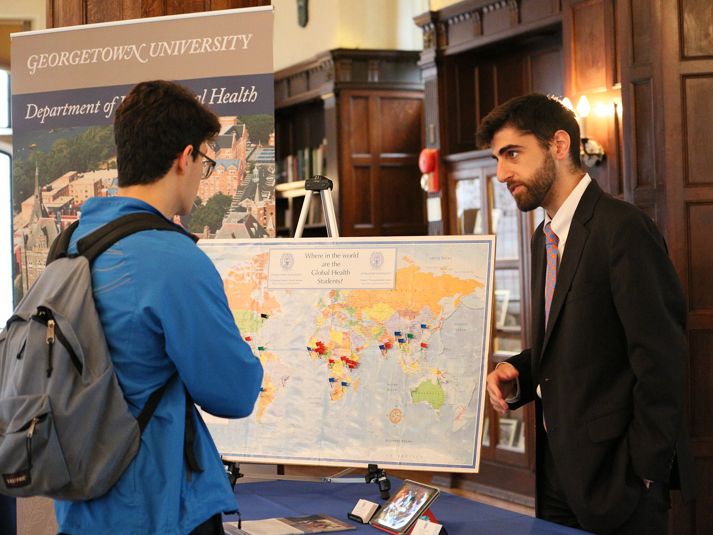 Student learning about global health at Georgetown