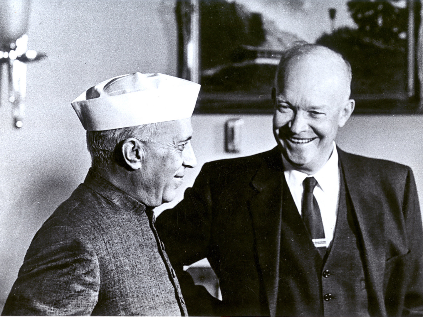 President Eisenhower and Prime Minister Nehru speak during Nehru's second visit to the US