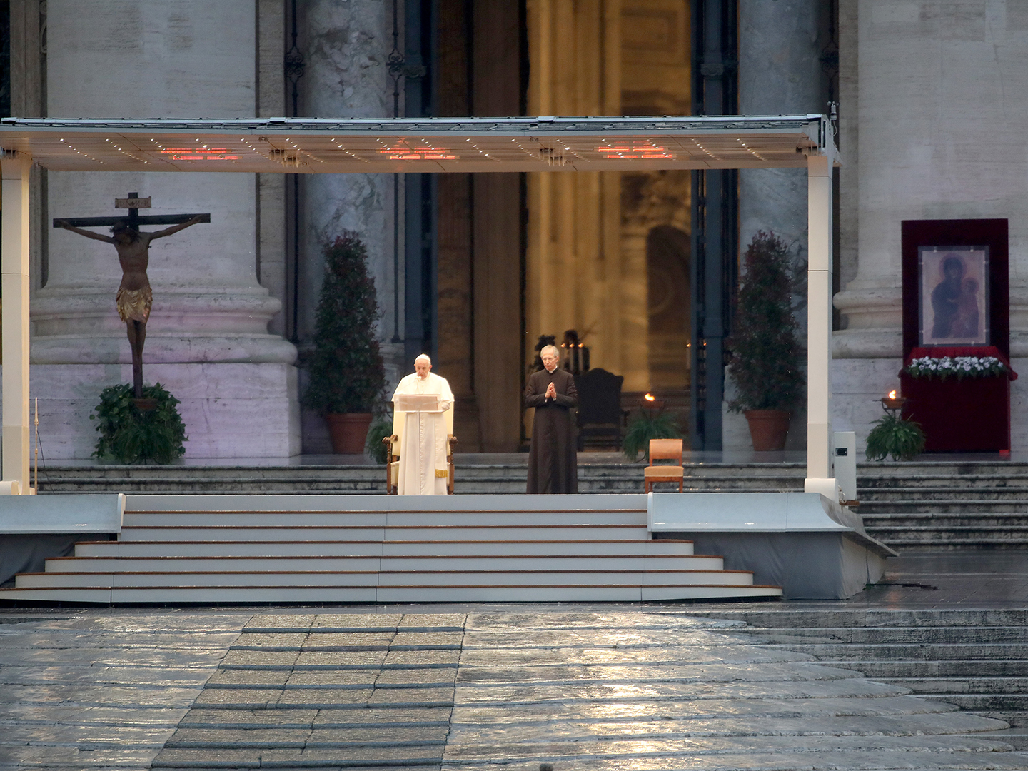 Pope Francis gives an Urbi et Orbi blessing  in front of an empty St. Peter's Square on March 27, 2020