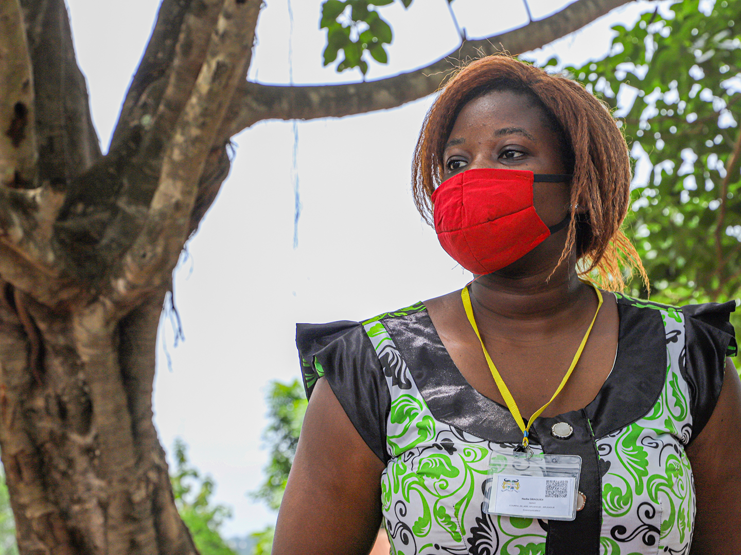 Woman during Benin's first digitized mosquito net distribution since the COVID-19 outbreak began on April 20, 2020.