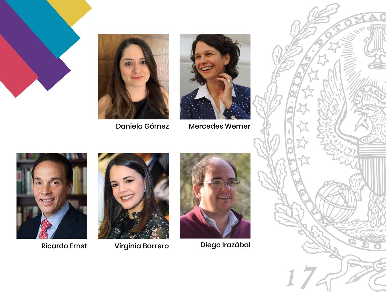 Photos of Daniela Gomez, Mercedes Werner, Ricardo Ernst, Virginia Barreiro, Diego Irazabal with Georgetown seal.