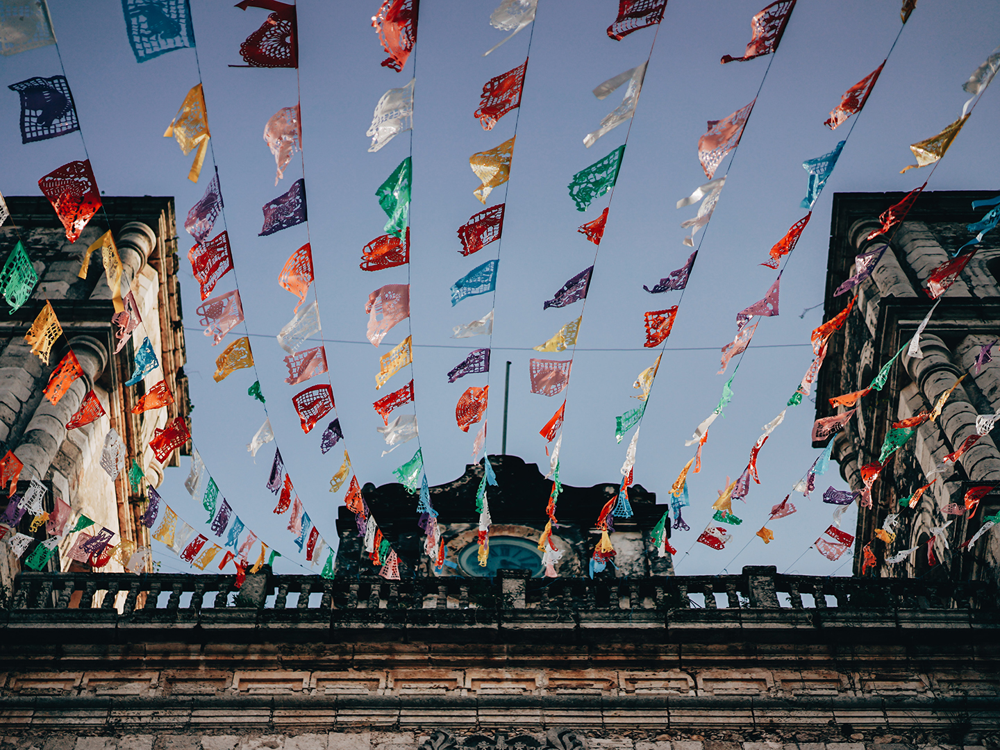 Colorful flags waving in the wind