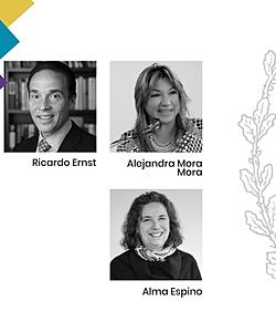 Panelists Ricardo Ernst, Alejandra Mora, and Alma Espino