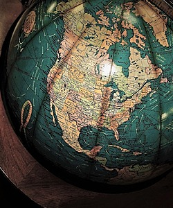 A globe focusing on the United States