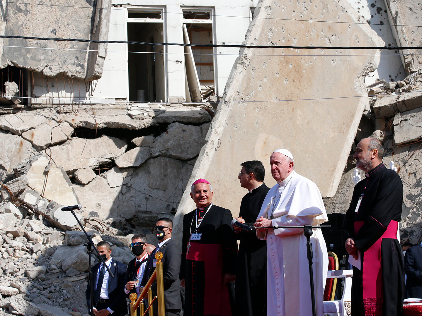 Pope Francis at Hosh al-Bieaa in Mosul, Iraq, March 7, 2021