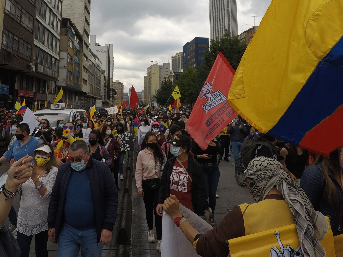 Protesters in the streets of Colombia