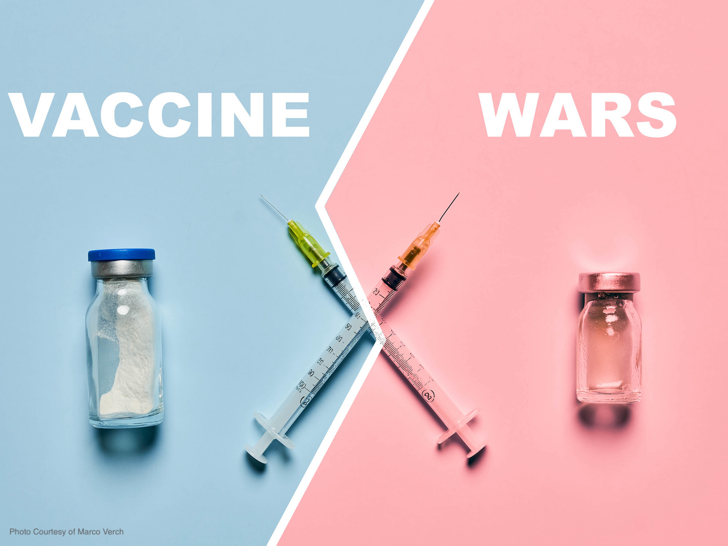 Vaccine wars graphic with crossed syringes