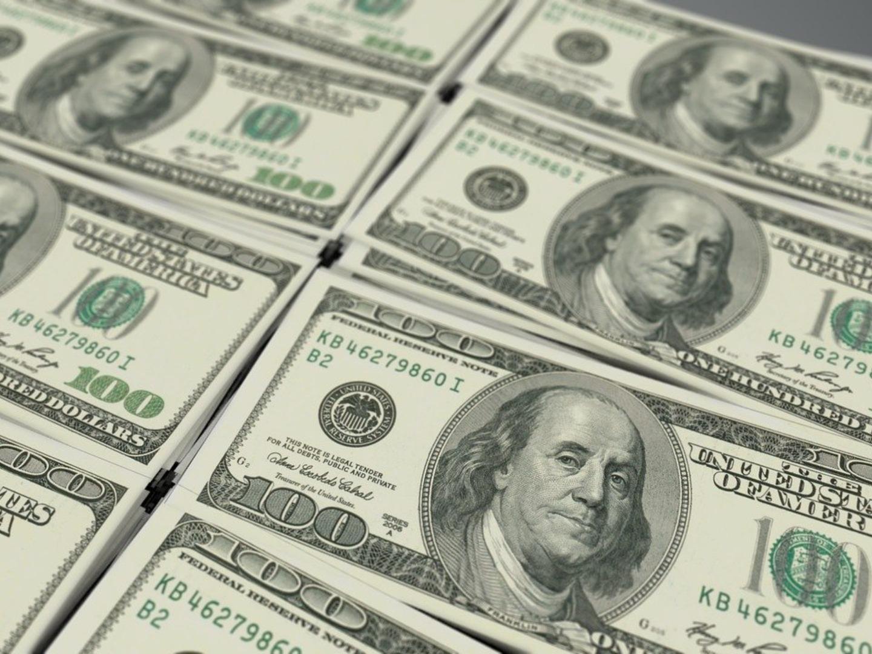 Stacks of US$100 dollar bills.