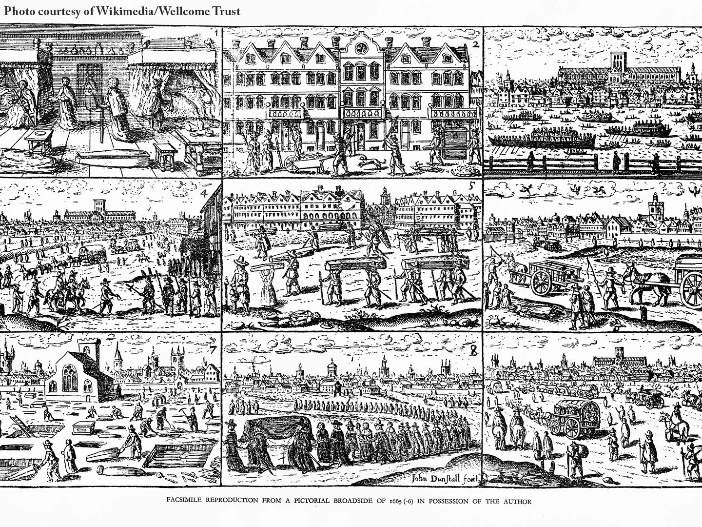 Nine black and white woodcut images of the Great Plague of London in 1665, courtesy of Wikimedia/Wellcome Trust