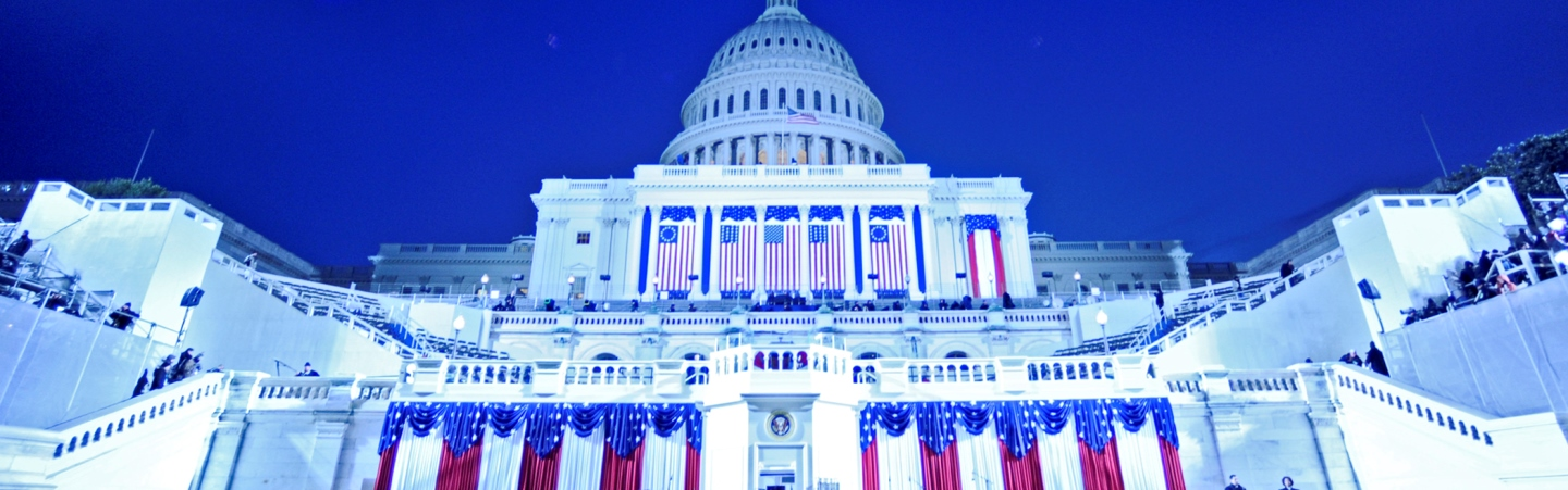 An image of the U.S. Capitol Building decorated and set up for Inauguration.
