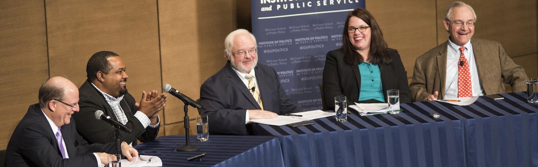 The panelist discussing 'Faith and the Faithful in U.S. Politics'