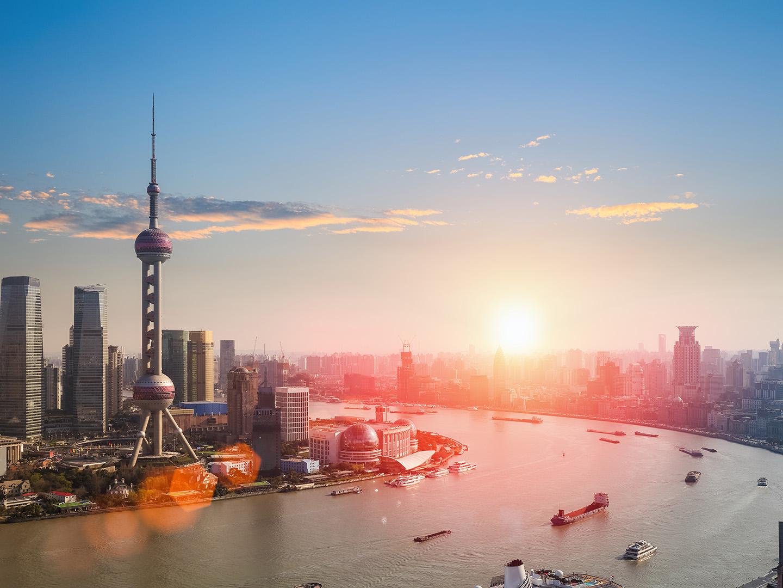 Sunset over Shanghai Skyline