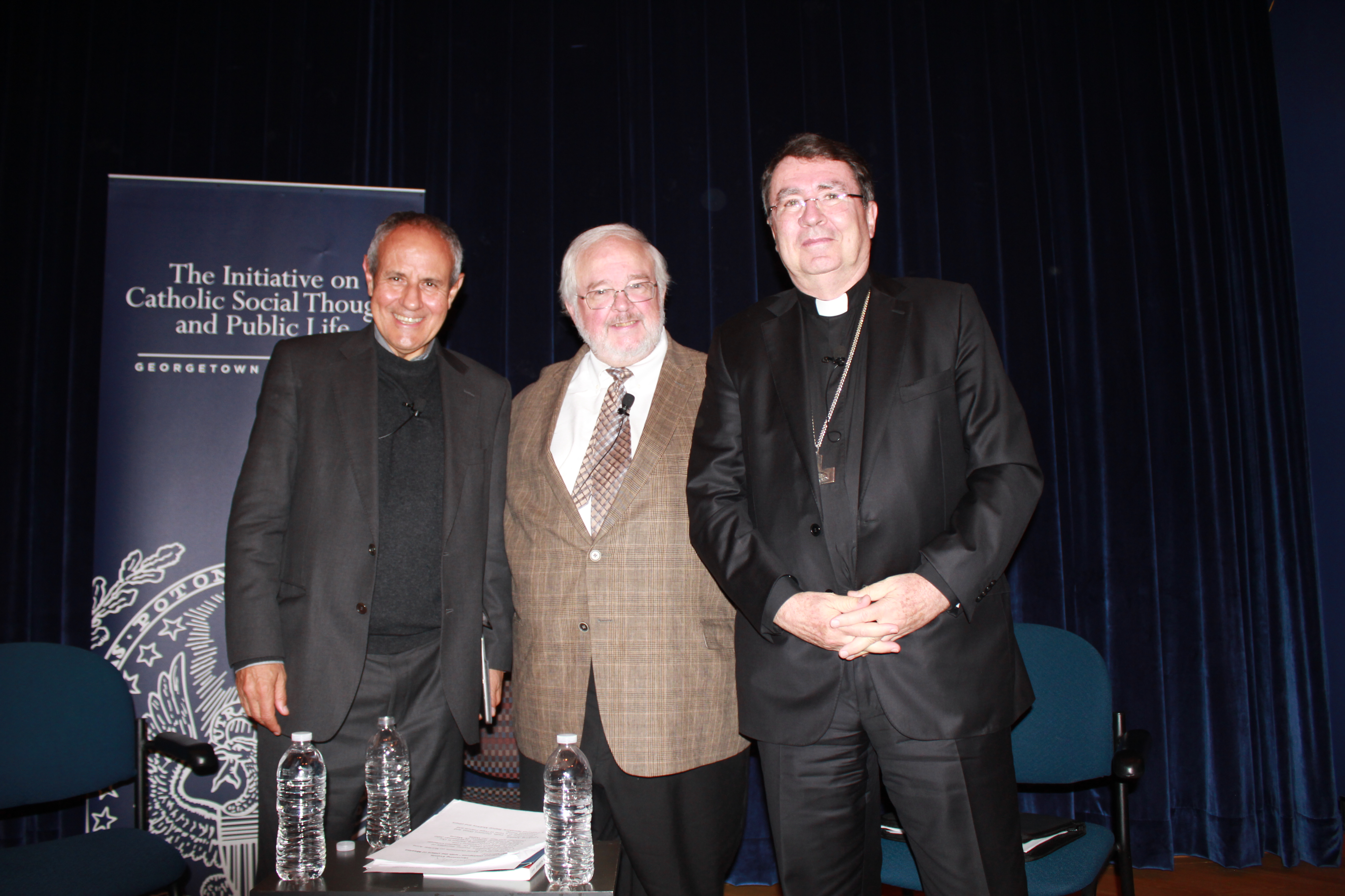 Father Carrón, John Carr, and Archbishop Pierre stand for a group photo after a successful and invigorating discussion.