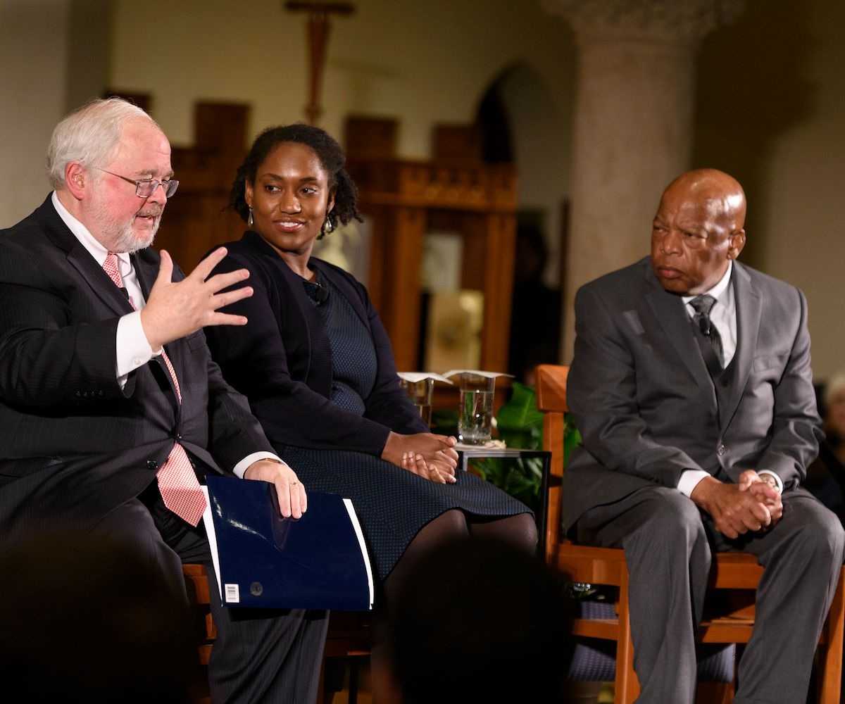 Initiative on Catholic Social Thought and Public Life  director John Carr; Georgetown professor Marcia Chatelaine; U.S. Rep. John Lewis (D-Georgia)