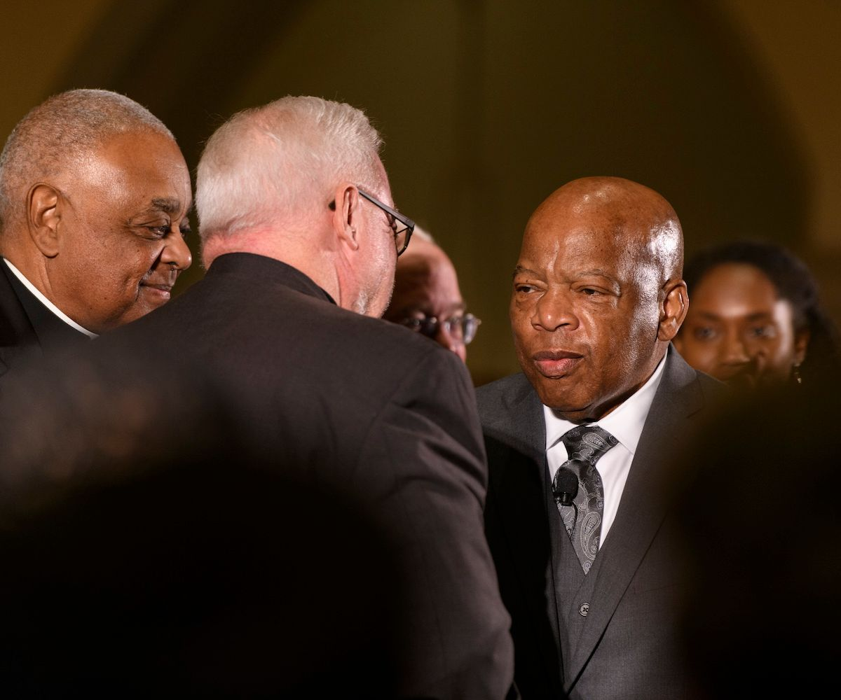Archbishop Wilton Gregory; Sojourners President Jim Wallis; U.S. Rep. John Lewis (D-Georgia) at close of event