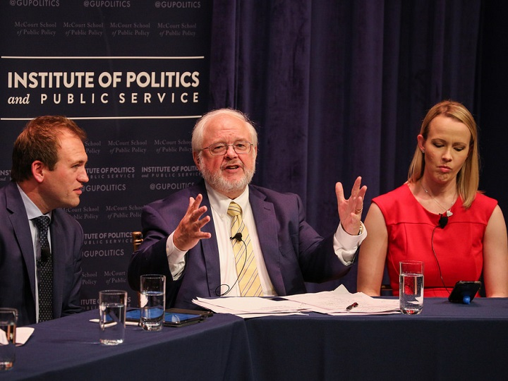 John Carr, director of the Initiative on Catholic Social Thought and Public Life, introduces panelists