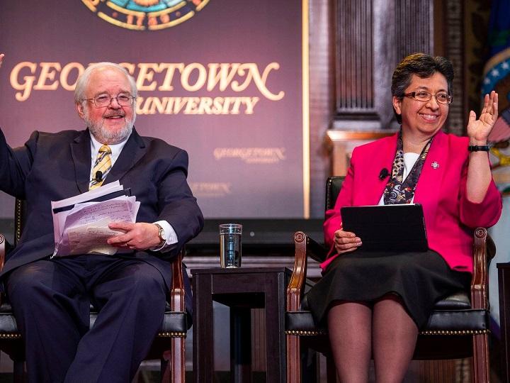 Moderator John Carr and panelist Sister Teresa Maya