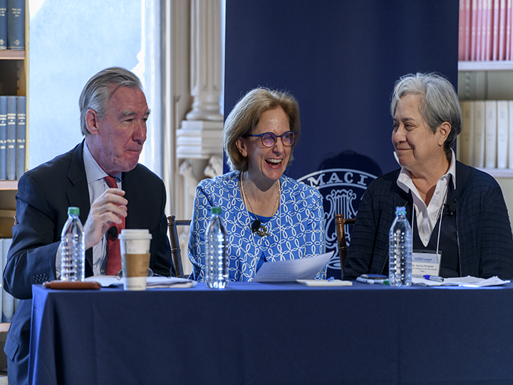 John Garvey, Amy Ulemen, and Sr. Norma sit together during a roundtable discussion.
