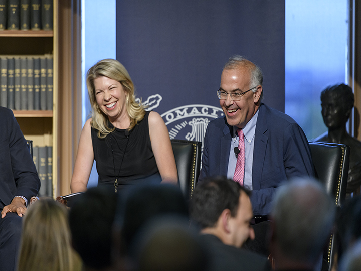 Cherie Harder and David Brooks at the panel on Faith and Polarization.