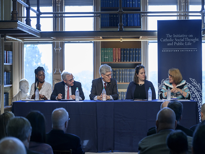 Christine Emba, E.J. Dionne, Robert George,  and Meghan Clark sit for a moderated discussion with Joan Rosenhauer.